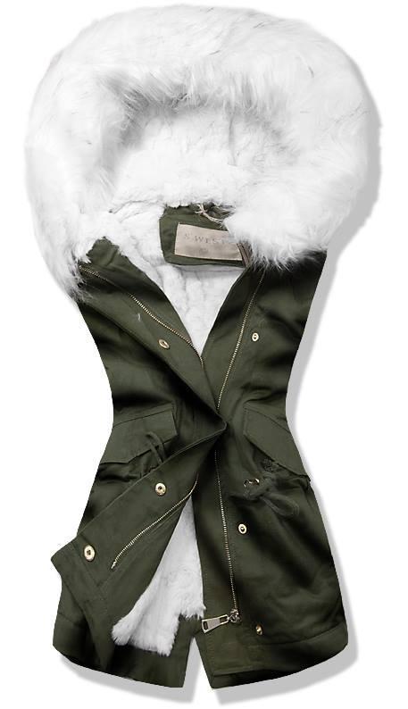 Khaki/biela kožušinová vesta 3711