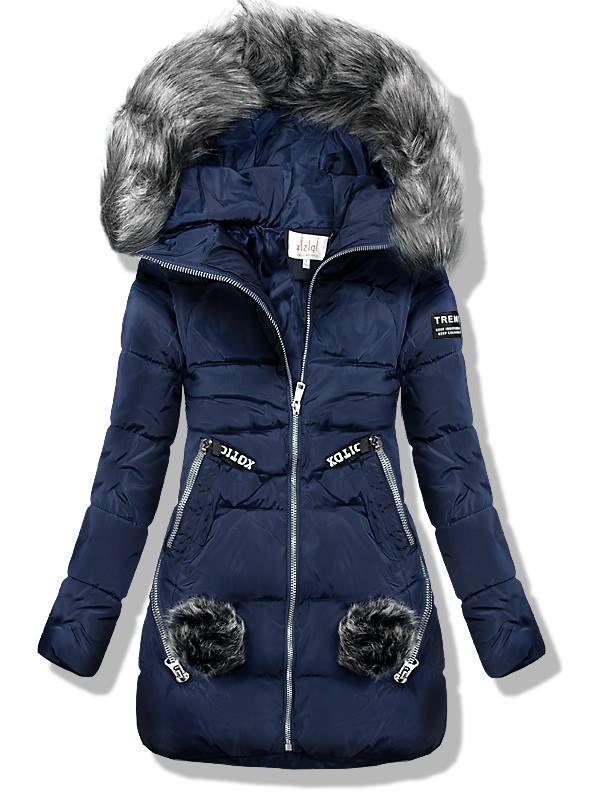 Tmavomodrá zimná prešívaná bunda s kožušinou