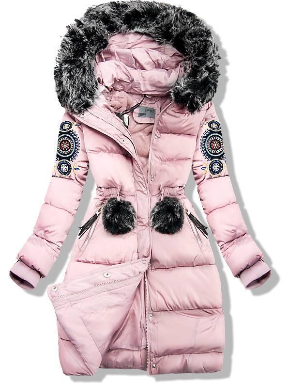 Ružová zimná bunda s výšivkou