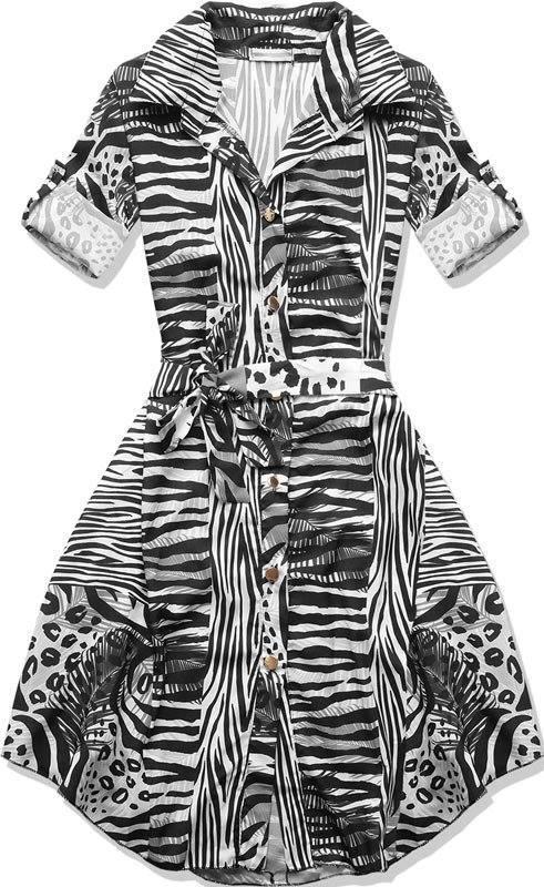 fbbe980154bb Čierno-biele šaty so vzorom