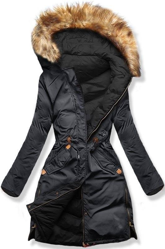Sivo/čierna obojstranná zimná bunda
