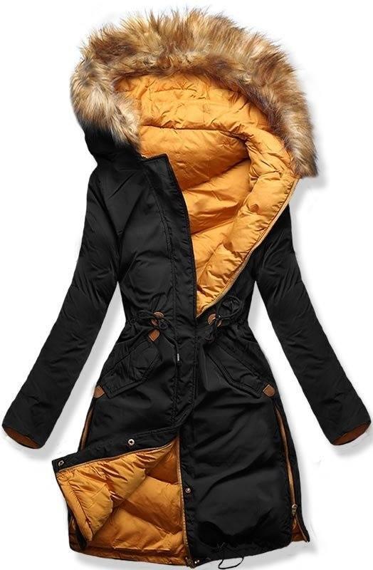 Čierno/žltá obojstranná zimná bunda