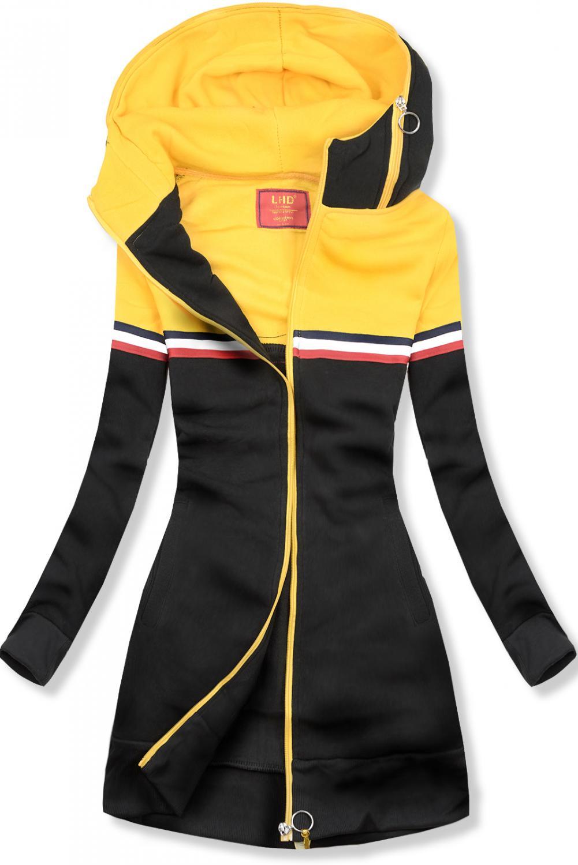 Čierno-žltá dlhá mikina