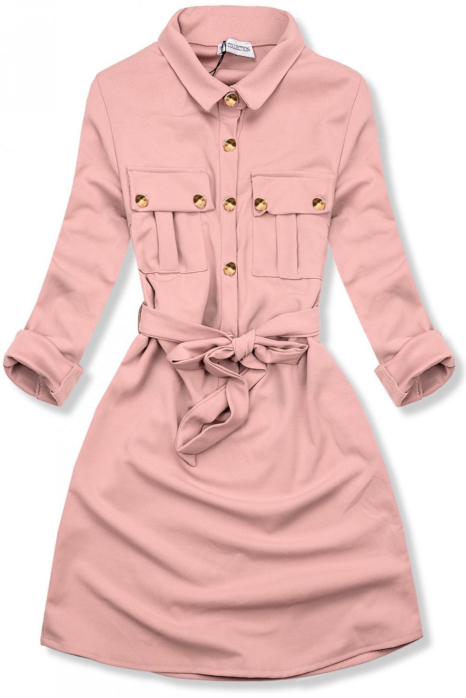 Ružové košeľové šaty