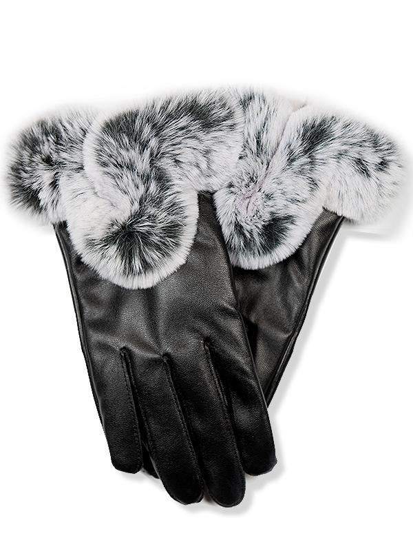 Čierne koženkové rukavice