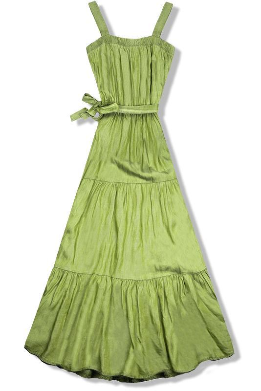 Pistáciovo zelené maxi šaty na ramienka ac15fb75c6e