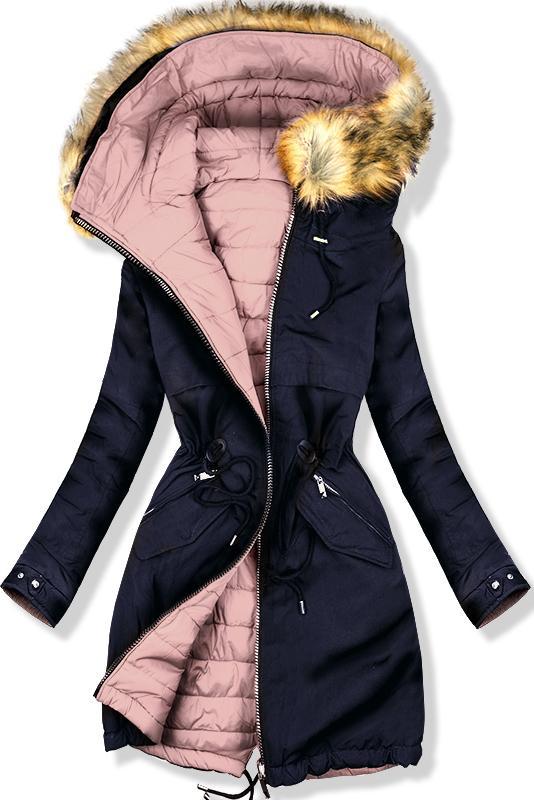 Obojstranná bunda modrá/ružová