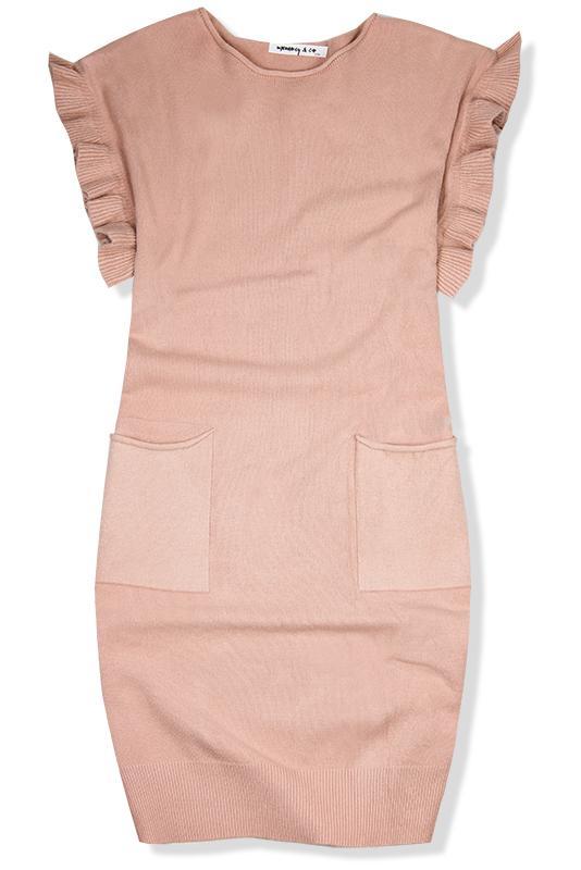 21847d0fe7cf Púdrovo ružové pletené oversized šaty