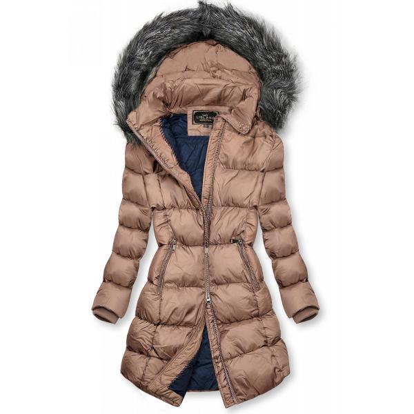 Ružová zimná bunda s kožušinou