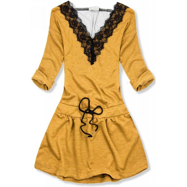 Horčicovožlté krátke šaty s čipkou