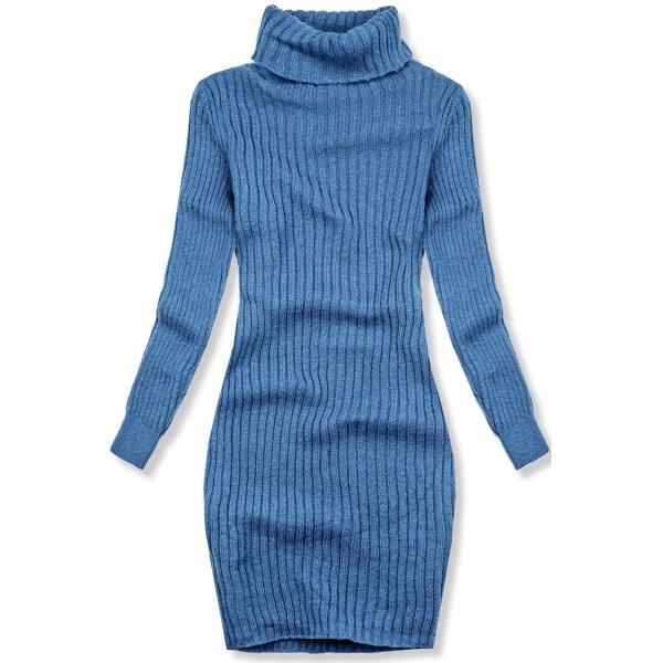 Jeans modré pletené rolákové šaty