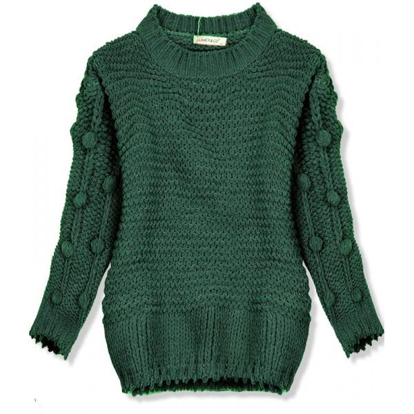Zelený sveter s brmbolcami