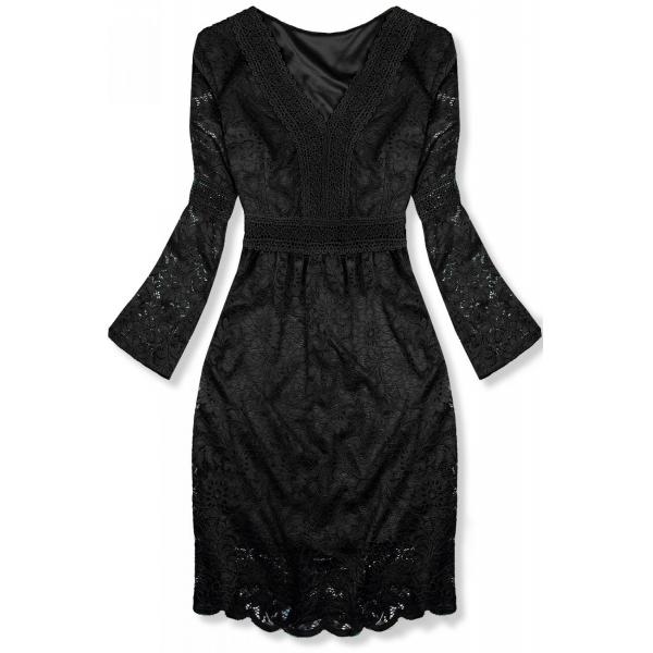 Čierne elegantné čipkované šaty