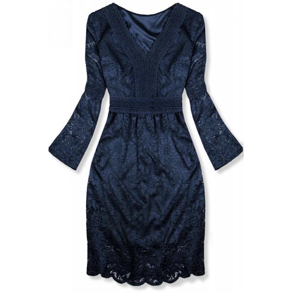 Modré elegantné čipkované šaty
