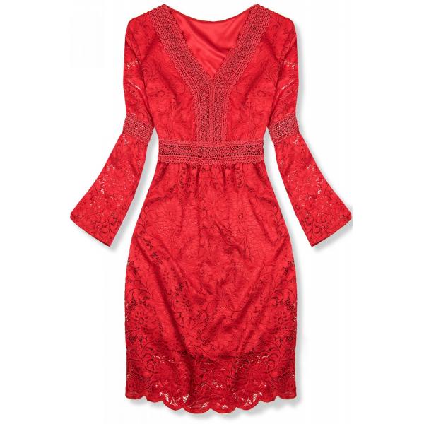 Červené elegantné čipkované šaty