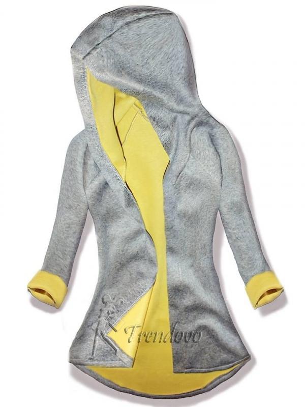 Sivo-žltá tunika s kapucí 5085