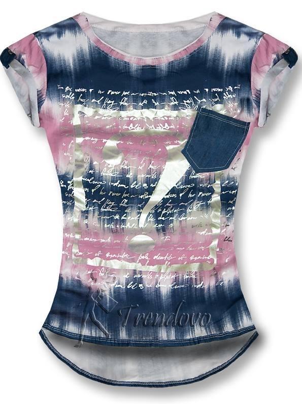 Růžovo modré tričko 8961