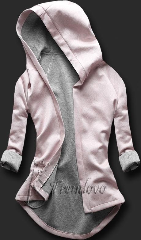 Růžovo-šedá tunika s kapucí 5085