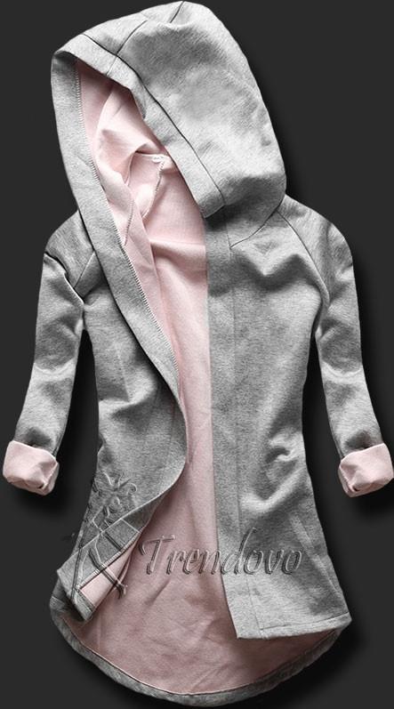 Šedo-růžová tunika s kapucí 5085