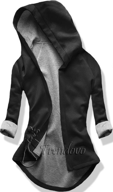 Černo-šedá tunika s kapucí 5085