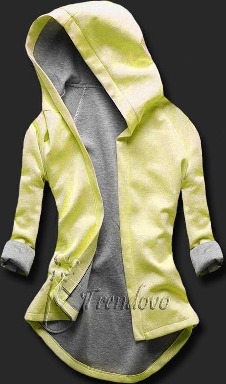Žluto-šedá tunika s kapucí 5085